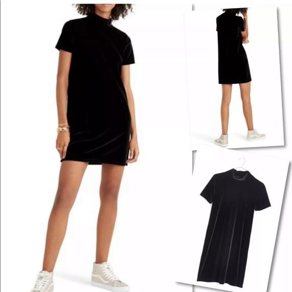 Madewell Dresses & Skirts - MADEWELL TRUE BLACK VELVET MOCKNECK SHIFT DRESS L